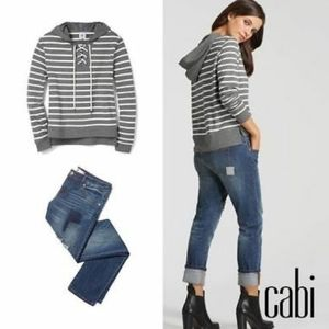 NWOT CAbi Windward Sweater Sweatshirt Striped 5324